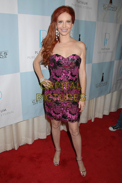 PHOEBE PRICE.Platinum Guild International and Clothes Off Our Back Celebration, Awards and Cocktail Party at the Luxe Hotel Rodeo Drive, Beverly Hills, California, USA..September 12th, 2007.full length black purple strapless dress hand on hip bracelet .CAP/ADM/BP.©Byron Purvis/AdMedia/Capital Pictures.