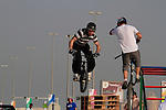 Trick riders entertain at the finish of the 1st Stage of the 2012 Tour of Qatar running from Umm Slal Mohammed to Doha Golf Club, Doha, Qatar, 5th February 2012 (Photo Eoin Clarke/Newsfile)