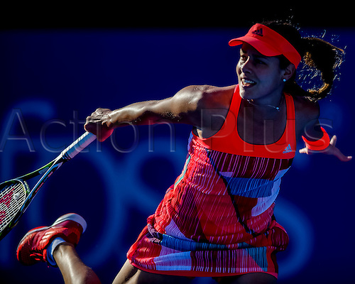 10.01.2016. Sydney, Australia. Ana Ivanovic (SRB) in action against Karolina Pliskova (CZE) during their women's singles  match on Day 1 at the Apia International tournament at the Apia International Sydney, Australia. Pliskova beat Ivanovic 6:4,  6:2