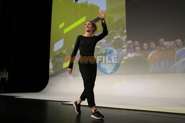 Cecilie Uttrup Ludwig (DEN) introduced on stage at the Tour de France 2020 route presentation held in the Palais des Congrès de Paris (Porte Maillot), Paris, France. 15th October 2019.<br /> Picture: Eoin Clarke | Cyclefile<br /> <br /> All photos usage must carry mandatory copyright credit (© Cyclefile | Eoin Clarke)