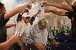 The Reno Aces players pour beer and champagne on owners Stuart Katzoff and Jerry Katzoff while celebrating their Pacific Coast League Conference Championship over the Sacramento River Cats in their locker room on Sunday afternoon, September 9, 2012 in Reno, Nevada.vs Sacramento River Cats play off game played on Sunday afternoon, September 9, 2012 in Reno, Nevada.