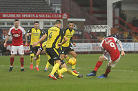 Fleetwood Town's Ched Evans gets a shot on goal<br /> <br /> Photographer Mick Walker/CameraSport<br /> <br /> The EFL Sky Bet League One - Fleetwood Town v Scunthorpe United - Saturday 26th January 2019 - Highbury Stadium - Fleetwood<br /> <br /> World Copyright © 2019 CameraSport. All rights reserved. 43 Linden Ave. Countesthorpe. Leicester. England. LE8 5PG - Tel: +44 (0) 116 277 4147 - admin@camerasport.com - www.camerasport.com