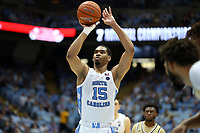 CHAPEL HILL, NC - JANUARY 4: Garrison Brooks #15 of the University of North Carolina shoots a free throw during a game between Georgia Tech and North Carolina at Dean E. Smith Center on January 4, 2020 in Chapel Hill, North Carolina.