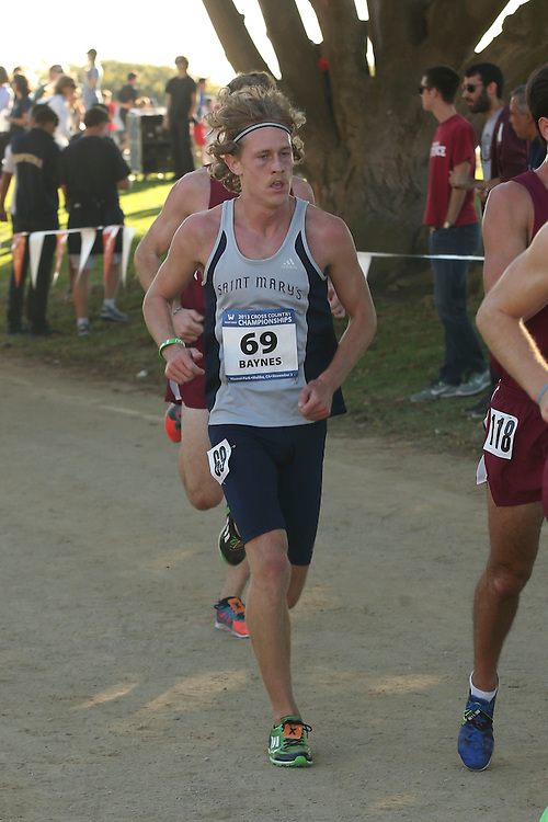 November 2, 2013; Malibu, CA, USA; Saint Mary's runner Rhett Baynes (69) during the WCC Cross Country Championship at Alumni Park.