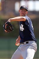 New York  Yankees pitcher Jordan Cote #43 delivers a pitch during a minor league spring training game against the Philadelphia Phillies at the Carpenter Complex on March 22, 2012 in Clearwater, Florida.  (Mike Janes/Four Seam Images)