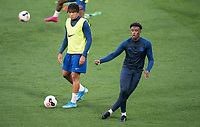 Callum Hudson-Odoi & Reece James of Chelsea U23 pre match during the Premier League 2 match between Chelsea U23 and Brighton & Hove Albion Under 23 at Stamford Bridge, London, England on 13 September 2019. Photo by Andy Rowland.