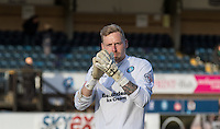 Goalkeeper Ryan Allsop (Loanee from Bournemouth) of Wycombe Wanderers applauds the WW support during the Sky Bet League 2 match between Wycombe Wanderers and Mansfield Town at Adams Park, High Wycombe, England on 25 March 2016. Photo by Kevin Prescod.