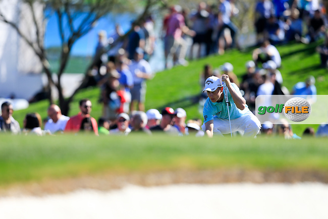 Emiliano Grillo (ARG) on the 2nd green during the 2nd round of the Waste Management Phoenix Open, TPC Scottsdale, Scottsdale, Arisona, USA. 01/02/2019.<br /> Picture Fran Caffrey / Golffile.ie<br /> <br /> All photo usage must carry mandatory copyright credit (&copy; Golffile | Fran Caffrey)