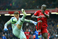 Liverpool's Sadio Mane competes with Chelsea's Kepa Arrizabalaga<br /> <br /> Photographer Richard Martin-Roberts/CameraSport<br /> <br /> The Premier League - Liverpool v Chelsea - Sunday 14th April 2019 - Anfield - Liverpool<br /> <br /> World Copyright © 2019 CameraSport. All rights reserved. 43 Linden Ave. Countesthorpe. Leicester. England. LE8 5PG - Tel: +44 (0) 116 277 4147 - admin@camerasport.com - www.camerasport.com