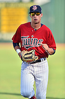 Elizabethton Twins right fielder Alex Kirilloff (30) runs in from the outfield during a game against the Bristol Pirates at Joe O'Brien Field on July 30, 2016 in Elizabethton, Tennessee. The Twins defeated the Pirates 6-3. (Tony Farlow/Four Seam Images)