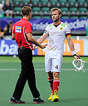 The Hague, Netherlands, June 08: Maximilian Mueller #4 of Germany argues with the umpire during the field hockey group match (Men - Group B) between the Black Sticks of New Zealand and Germany on June 8, 2014 during the World Cup 2014 at Kyocera Stadium in The Hague, Netherlands.  Final score 3-5 (1-3) (Photo by Dirk Markgraf / www.265-images.com) *** Local caption ***
