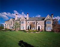 The exterior architecture of contemporary manor style condominiums.