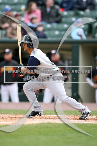 May 10, 2009:  Shortstop Eider Torres of the Charlotte Knights, Triple-A International League affiliate of the Chicago White Sox, at bat during a game at Frontier Field in Rochester, NY.  Photo by:  Mike Janes/Four Seam Images