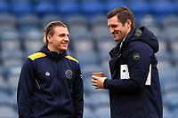 Jason Cummings of Shrewsbury Town left shares a joke with Shrewsbury Town Manager Sam Ricketts during Portsmouth vs Shrewsbury Town, Sky Bet EFL League 1 Football at Fratton Park on 15th February 2020