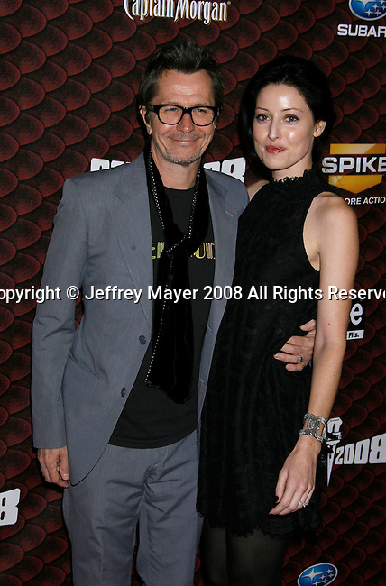 "LOS ANGELES, CA. - October 18: Actor Gary Oldman and Alex Edenborough arrive at the Spike TV's ""Scream 2008"" Awards at The Greek Theater on October 18, 2008 in Los Angeles, California."