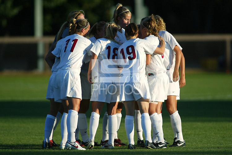 22 August 2005: Martha West, Shari Summer, Leah Tapscott and Allison Falk during a scrimmage against UC Davis at Maloney Field in Stanford, CA.
