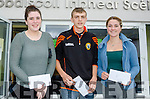 LOOKING FOR A GOOD RESULT:  Pictured receiving their leaving cert results at Kenmare's<br /> Pobalscoil Inbhear Sc&eacute;ine are l-r Cliona Lucey (Kenmare), Brendan O'Sullivan (Sneem) and Jenny Kelly (Tuosist).