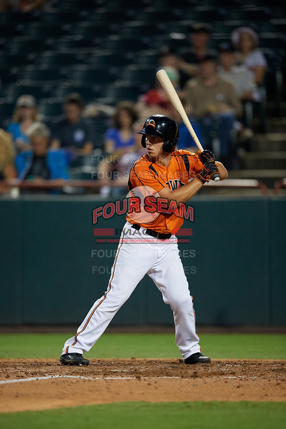 Bowie Baysox T.J. Nichting (49) at bat during an Eastern League game against the Richmond Flying Squirrels on August 15, 2019 at Prince George's Stadium in Bowie, Maryland.  Bowie defeated Richmond 4-3.  (Mike Janes/Four Seam Images)
