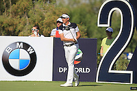 Ian Poulter (ENG) on the 2nd tee during the preview for the DP World Tour Championship at the Earth course,  Jumeirah Golf Estates in Dubai, UAE,  18/11/2015.<br /> Picture: Golffile | Thos Caffrey<br /> <br /> All photo usage must carry mandatory copyright credit (&copy; Golffile | Thos Caffrey)