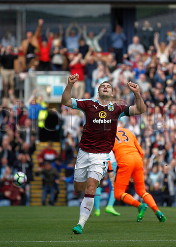 May 21st 2017, Turf Moor, Burnley,  England; EPL Premier league football, Burnley versus West Ham United;  Sam Vokes of Burnley celebrates scoring in the 23rd minute to make it 1-0