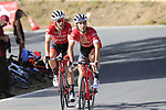 Fabio Feline (ITA) and Markel Iiizar Aramburu (ESP) Trek-Segafredo climb Sierra de la Alfaguara during Stage 4 of the La Vuelta 2018, running 162km from Velez-Malaga to Alfacar, Sierra de la Alfaguara, Andalucia, Spain. 28th August 2018.<br /> Picture: Eoin Clarke | Cyclefile<br /> <br /> <br /> All photos usage must carry mandatory copyright credit (&copy; Cyclefile | Eoin Clarke)