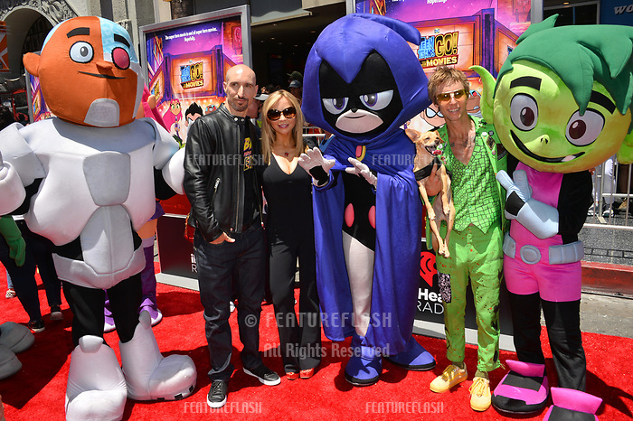 Scott Melville, Tara Strong &amp; Greg Cipes at the premiere for &quot;Teen Titans Go! to the Movies&quot; at the TCL Chinese Theatre, Los Angeles, USA 22 July 2018<br /> Picture: Paul Smith/Featureflash/SilverHub 0208 004 5359 sales@silverhubmedia.com