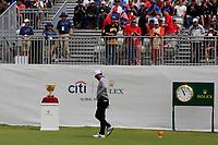 Dustin Johnson (USA) walks onto the 1st tee during the Second Round - Foursomes of the Presidents Cup 2019, Royal Melbourne Golf Club, Melbourne, Victoria, Australia. 13/12/2019.<br /> Picture Thos Caffrey / Golffile.ie<br /> <br /> All photo usage must carry mandatory copyright credit (© Golffile | Thos Caffrey)