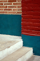 Steps and brick walls in the Spanish colonial town of Todos Santos , Baja California Sur, Mexico