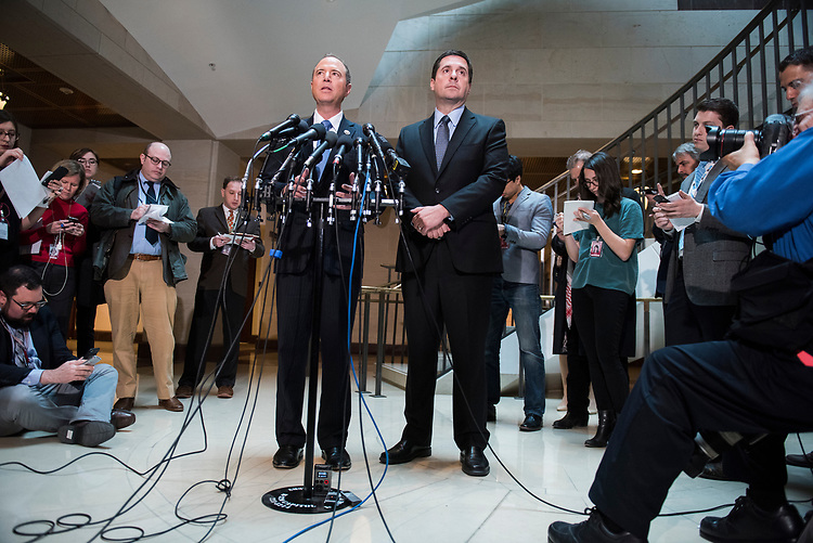 UNITED STATES - MARCH 15: Chairman of the House Permanent Select Committee on Intelligence Devin Nunes, R-Calif., right, and Rep. Adam Schiff, D-Calif., ranking member, conduct a news conference in the Capitol Visitor Center where they addressed President Trump's wiretapping accusation and other matters, March 15, 2017. (Photo By Tom Williams/CQ Roll Call)