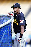 Jose Guillen of the Pittsburgh Pirates before a 1999 Major League Baseball season game against the Los Angeles Dodgers in Los Angeles, California. (Larry Goren/Four Seam Images)