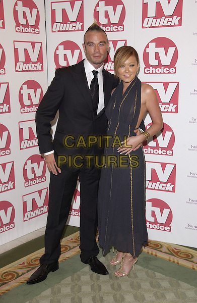 FRAN COSGRAVE & NATASHA HAMILTON.Arriving at the TV Quick & TV Choice Awards,.Dorchester Hotel, Park Lane,.full length black suit navy gold dress strappy sandals couple.London, 5th September 2005.www.capitalpictures.com.sales@capitalpictures.com.© Capital Pictures.