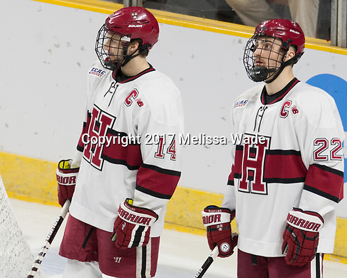 Alexander Kerfoot (Harvard - 14), Devin Tringale (Harvard - 22) - The Harvard University Crimson defeated the Air Force Academy Falcons 3-2 in the NCAA East Regional final on Saturday, March 25, 2017, at the Dunkin' Donuts Center in Providence, Rhode Island.