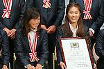 (L to R) Nahomi Kawasumi (Leonessa), Homare Sawa (Leonessa), November 13, 2012 - Football / Soccer : Plenus Nadeshiko LEAGUE 2012 Award ceremony in Tokyo, Japan. (Photo by Yusuke Nakanishi/AFLO SPORT).