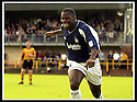 24/8/02         Copyright Pic : James Stewart                     .File Name : stewart-alloa v falkirk 12.FALKIRK'S TRINIDADIAN INTERNATIONALIST COLLIN SAMUEL CELEBRATES AFTER FIRING HOME THE FOURTH GOAL......James Stewart Photo Agency, 19 Carronlea Drive, Falkirk. FK2 8DN      Vat Reg No. 607 6932 25.Office : +44 (0)1324 570906     .Mobile : + 44 (0)7721 416997.Fax     :  +44 (0)1324 570906.E-mail : jim@jspa.co.uk.If you require further information then contact Jim Stewart on any of the numbers above.........