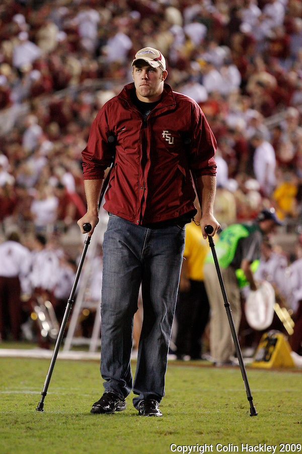 TALLAHASSEE, FL 10/10/09-FSU-Ga. Tech FB09 CH40-Florida State's Caz Piurowski leaves the field at half time after an injury sidelined him early in the game against  Georgia Tech during first half action Saturday at Doak Campbell Stadium in Tallahassee. .COLIN HACKLEY PHOTO