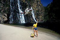 HELICOPTER  AND GIRL AT TWIN FALLS,<br />