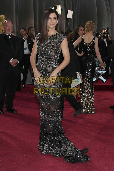 Sandra Bullock.85th Annual Academy Awards held at the Dolby Theatre at Hollywood & Highland Center, Hollywood, California, USA..February 24th, 2013.oscars full length black dress beads beaded lace .CAP/ADM/RE.©Russ Elliot/AdMedia/Capital Pictures.
