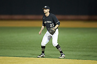 Wake Forest Demon Deacons second baseman Jake Mueller (23) on defense against the Notre Dame Fighting Irish at David F. Couch Ballpark on March 10, 2019 in  Winston-Salem, North Carolina. The Fighting Irish defeated the Demon Deacons 8-7 in 10 innings in game two of a double-header. (Brian Westerholt/Four Seam Images)