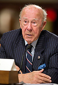 "Dr. George P. Shultz, Thomas W. and Susan B. Ford Distinguished Fellow Hoover Institution, Stanford University, and former United States Secretary of State (under President Ronald Reagan) gives testimony before the United States Senate Committee on Armed Services concerning ""Global Challenges and the U.S. National Security Strategy"" in Washington, D.C. on Thursday, January 29, 2015.<br /> Credit: Ron Sachs / CNP"