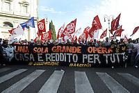 Roma, 19 Ottobre 2013<br /> Corteo contro l'austerità e la precarietà<br /> Lo striscione di apertura dei movimenti per la casa e contro le grandi opere.<br /> Una sola grande opera, casa e reddito per tutte e tutti<br /> No TAV