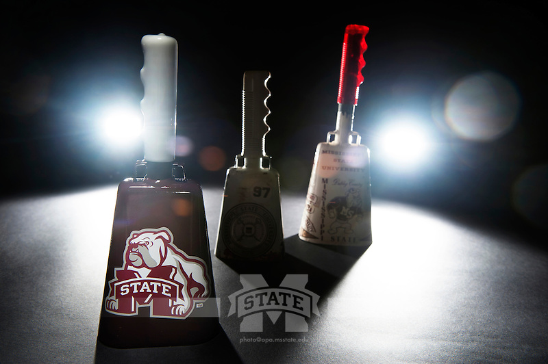 Cowbells in studio on black background. (photo by Beth Wynn / © Mississippi State University)