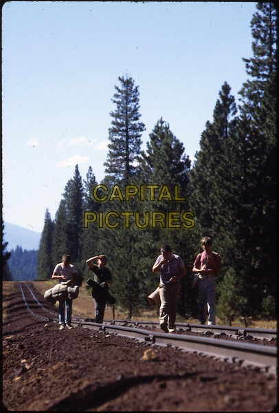 River Phoenix, Jerry O'Connell, Wil Wheaton, Corey Feldman<br /> in Stand by Me (1986) <br /> *Filmstill - Editorial Use Only*<br /> CAP/NFS<br /> Image supplied by Capital Pictures