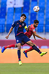 Teerasil Dangda of Thailand (L) fights for the ball with Sami Mohamed Alhusaini of Bahrain during the AFC Asian Cup UAE 2019 Group A match between Bahrain (BHR) and Thailand (THA) at Al Maktoum Stadium on 10 January 2019 in Dubai, United Arab Emirates. Photo by Marcio Rodrigo Machado / Power Sport Images