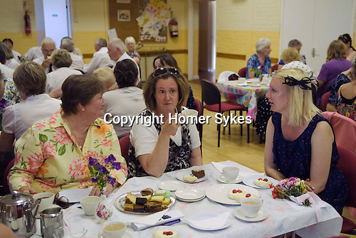 Stowey Female Friendly Society ( The Womens Walk ) Club Day. Cream tea in the Village Hall. - £5.00.<br /> Nether Stowey Somerset UK 2014.