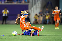 Orlando, Florida - Saturday, April 23, 2016: Orlando Pride midfielder Becky Edwards (14) tackles Houston Dash forward Rachel Daly (3) during an NWSL match between Orlando Pride and Houston Dash at the Orlando Citrus Bowl.