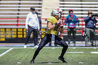 College Park, MD - April 27, 2019: Maryland Terrapins quarterback Max Bortenschlager (18) attempts to throw a pass during the spring game at  Capital One Field at Maryland Stadium in College Park, MD.  (Photo by Elliott Brown/Media Images International)