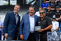 Verizon IndyCar Series<br /> Indianapolis 500 Drivers Meeting<br /> Indianapolis Motor Speedway, Indianapolis, IN USA<br /> Saturday 27 May 2017<br /> Starter's ring presentation: Juan Pablo Montoya, Team Penske Chevrolet<br /> World Copyright: F. Peirce Williams