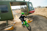 NWA Democrat-Gazette/BEN GOFF @NWABENGOFF<br /> Nan Wallace, 12, of Rogers rides through the helicopter feature on the skills lines Saturday, Feb. 9, 2019, at the Runway Bike Park at the Jones Center in Springdale. The bike playground and pump track at the park opened in late September, but the skills lines were delayed in opening until today due to weather and drainage issues.
