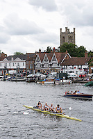 Henley on Thames. United Kingdom.      Thursday,  30/06/2016, Parlympic Team Annoucement for crews for Rio.  GBR LTAMix4+.  Bow. Grace Clough, Daniel Brown, Pamela Relph, James Fox and cox Oliver James,  Henley Town in the background.    2016 Henley Royal Regatta, Henley Reach.   [Mandatory Credit Peter Spurrier/ Intersport Images]