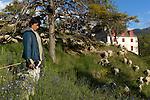 Claudette Bourrier, berg&egrave;re en train de faire paturer ses moutons sur les remparts de la place forte de Mont-Dauphin construite par Vauban &agrave; partir de 1693, inscrite en 2008 au Patrimoine mondial de l'UNESCO.<br /> Mont-Dauphin castle built by Vauban in 1693, on the Unesco list since 2008